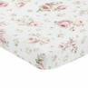 Pink, Sage and White Floral Baby Toddler Fitted Mini Portable Crib Sheet for Riley Roses Collection by Sweet Jojo Designs