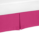 Pink Toddler Bed Skirt for Hot Pink and White Chevron Kids Childrens Bedding Sets
