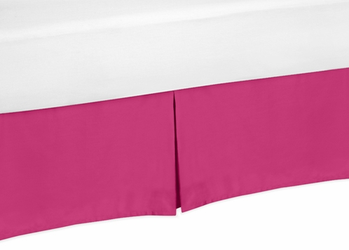 Pink Toddler Bed Skirt for Hot Pink and White Chevron Kids Childrens Bedding Sets - Click to enlarge