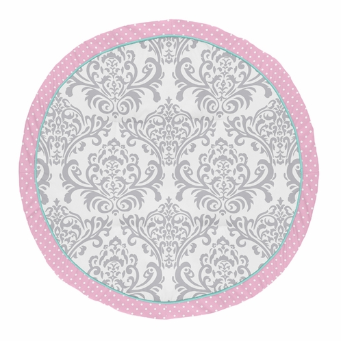 Pink, Turquoise and Gray Damask and Polka Dot Playmat Tummy Time Baby and Infant Play Mat for Skylar Collection by Sweet Jojo Designs - Click to enlarge