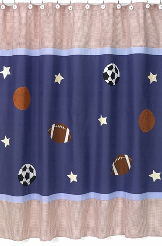 Playball Sports Kids Bathroom Fabric Bath Shower Curtain - Click to enlarge