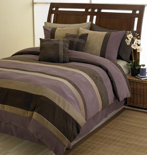 Plum, Chocolate and Camel Jacaranda Striped MicroSuede 6-pc Luxury Duvet Cover Bedding Set - Click to enlarge