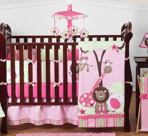 Pink and Green Girls Jungle Baby Bedding - 9pc Crib Set - Click to enlarge