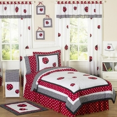 Polka Dot Ladybug Childrens Bedding - 3 pc Full / Queen Set