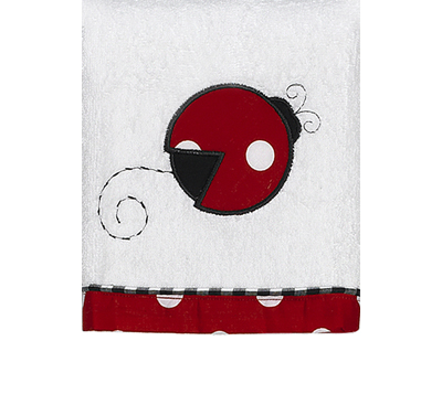 Polka Dot Ladybug Cotton Wash Cloth - Click to enlarge