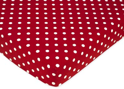 Polka Dot Ladybug Fitted Red Crib Sheet  - By Sweet Jojo Designs - Click to enlarge