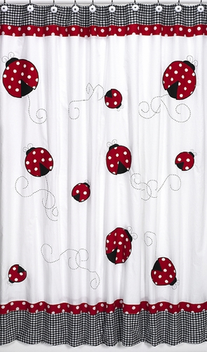 Polka Dot Ladybug Kids Bathroom Fabric Bath Shower Curtain - Click to enlarge