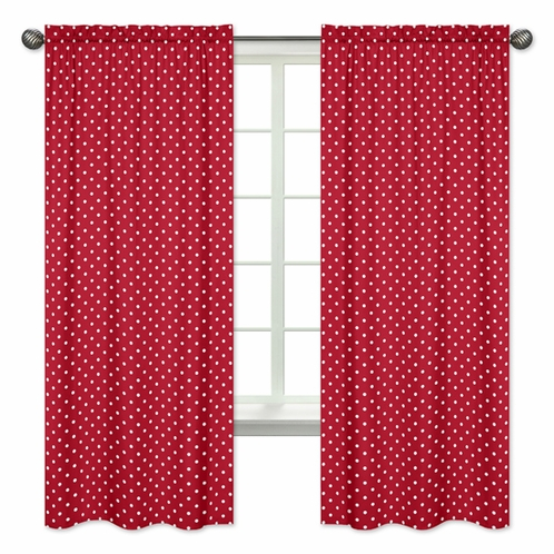 Polka Dot Window Treatment Panels Red and White Ladybug Collection by Sweet Jojo Designs - Set of 2 - Click to enlarge