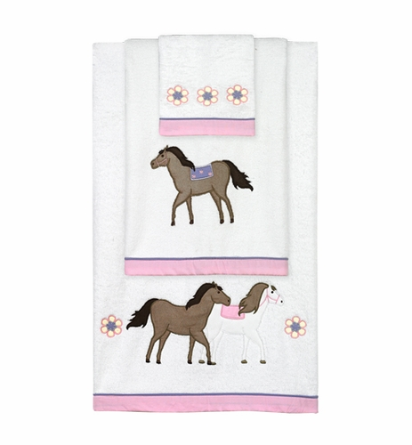 Pretty Pony Horse Baby and Kids Cotton Bath Towel Set - 3pc Set - Click to enlarge