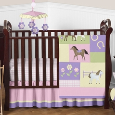Pretty Pony Horse Baby Bedding - 4pc Crib Set