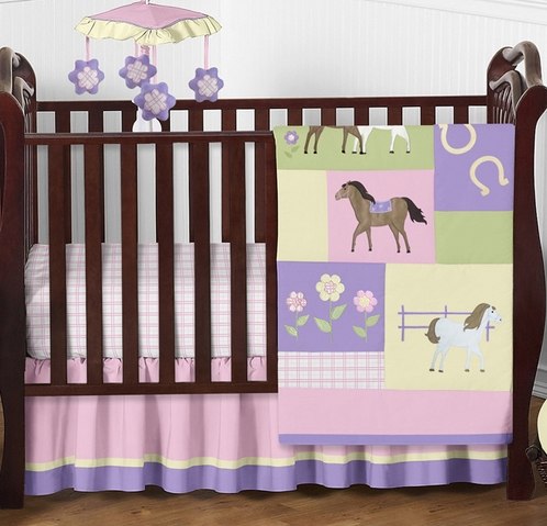 Pretty Pony Horse Baby Bedding - 4pc Crib Set - Click to enlarge