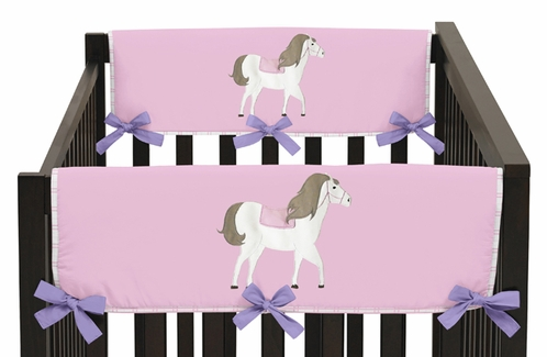 Pretty Pony Horse Baby Crib Side Rail Guard Covers by Sweet Jojo Designs - Set of 2 - Click to enlarge
