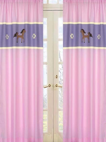 Pretty Pony Horse Window Treatment Panels - Set of 2 - Click to enlarge