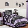 Purple and Black Kaylee Girls, Childrens & Kids Bedding - 4pc Twin Set by Sweet Jojo Designs