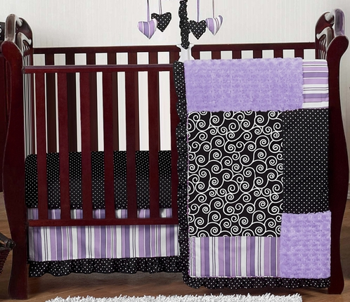 Purple And Black Kaylee S Boutique Baby Bedding 11pc Crib Set Click To Enlarge