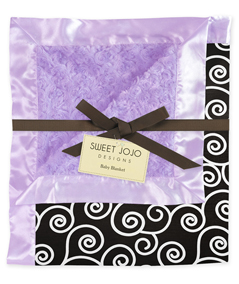 Purple and Black Kaylee Minky and Satin Baby Blanket by Sweet Jojo Designs