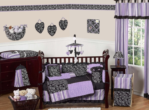 Purple and Black Kaylee Girls Boutique Baby Bedding - 9 pc Crib Set - Click to enlarge