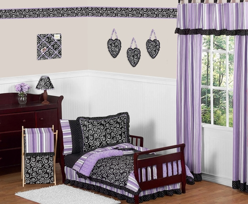 Purple and Black Kaylee Girls Toddler Bedding - 5 pc Set by Sweet Jojo Designs - Click to enlarge