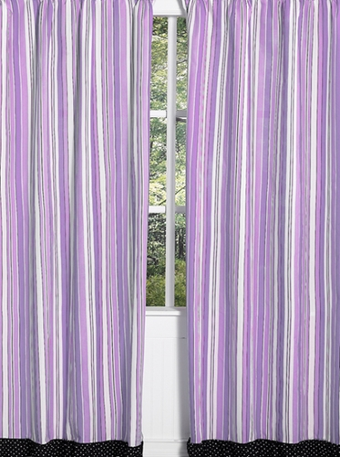 Purple and Black Kaylee Window Treatment Panels by Sweet Jojo Designs - Set of 2 - Click to enlarge
