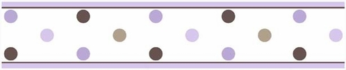 Purple and Brown Mod Dots Baby and Childrens Polka Dot Wall Border by Sweet Jojo Designs - Click to enlarge