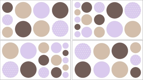 Purple and Brown Mod Dots Baby and Childrens Polka Dot Wall Decal Stickers - Set of 4 Sheets - Click to enlarge