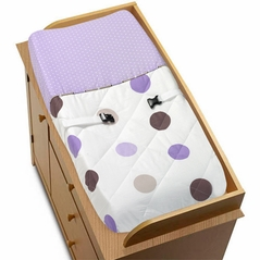 Purple and Brown Mod Dots Changing Pad Cover by Sweet Jojo Designs