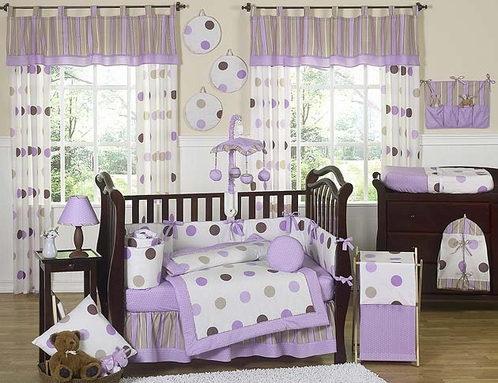 Purple and Brown Modern Polka Dot Baby Bedding - 9 pc Crib Set - Click to enlarge