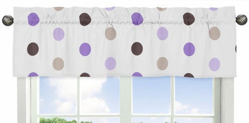 Purple and Brown Mod Dots Collection Window Valance by Sweet Jojo Designs - Click to enlarge