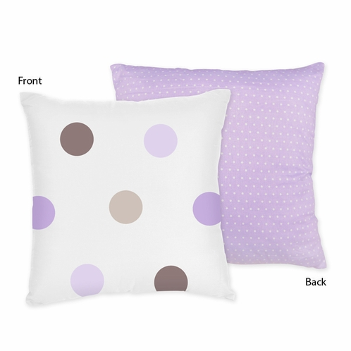 Purple and Brown Mod Dots Decorative Accent Throw Pillow by Sweet Jojo Designs - Click to enlarge