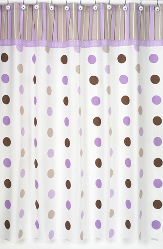 Purple And Brown Mod Dots Kids Bathroom Fabric Bath Shower Curtain Click To Enlarge