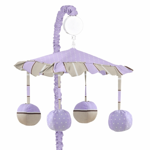 Purple and Brown Mod Dots Musical Crib Mobile by Sweet Jojo Designs - Click to enlarge