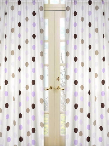 Purple and Brown Mod Dots Window Treatment Panels - Set of 2 - Click to enlarge