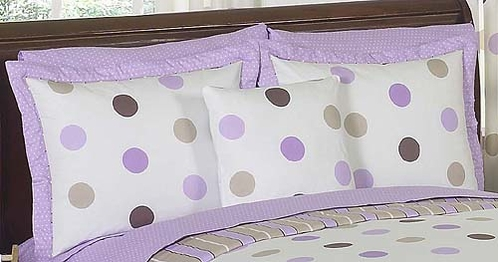 Purple and Brown Mod Dots Pillow Sham - Click to enlarge
