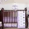 Purple and Brown Modern Polka Dot Baby Bedding - 11pc Crib Set