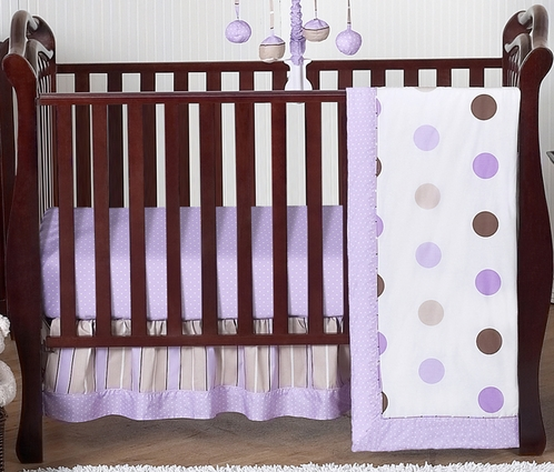 Purple and Brown Modern Polka Dot Baby Bedding - 4pc Crib Set  - Click to enlarge