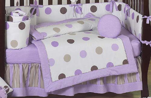 purple and brown modern polka dot baby bedding 9 pc crib set only