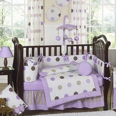 Purple And Brown Modern Polka Dot Baby Bedding 9 Pc Crib Set