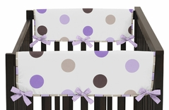 Purple and Brown Modern Polka Dots Baby Crib Side Rail Guard Covers by Sweet Jojo Designs - Set of 2