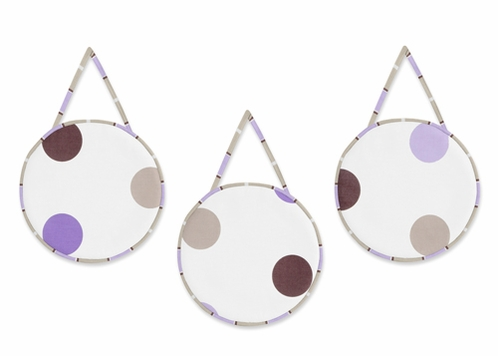 Purple and Brown Modern Polka Dots Wall Hanging Accessories by Sweet Jojo Designs - Click to enlarge