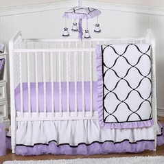 Purple, Black and White Princess Baby Bedding - 4pc Crib Set