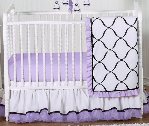 Purple, Black and White Princess Baby Bedding - 4pc Crib Set - Click to enlarge