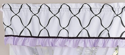 Purple, Black and White Princess Girls Window Valance by Sweet Jojo Designs - Click to enlarge
