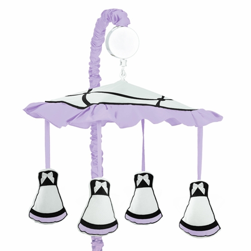 Purple, Black and White Princess Musical Baby Crib Mobile by Sweet Jojo Designs - Click to enlarge