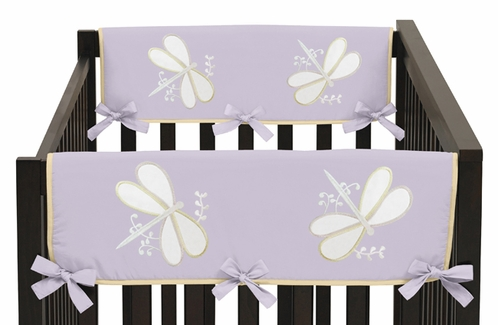 Purple Dragonfly Dreams Baby Crib Side Rail Guard Covers by Sweet Jojo Designs - Set of 2 - Click to enlarge