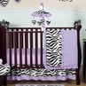 Purple Funky Zebra Baby Bedding - 11pc Crib Set