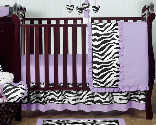 Purple Funky Zebra Baby Bedding 11pc Crib Set Click To Enlarge