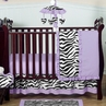 Purple Funky Zebra Baby Bedding - 4pc Crib Set