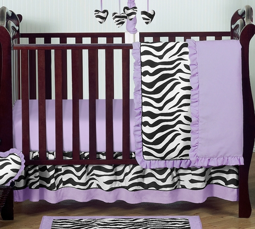 Purple Funky Zebra Baby Bedding - 4pc Crib Set - Click to enlarge