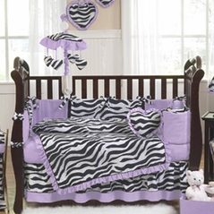purple funky zebra baby bedding 9 pc crib set