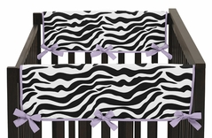Purple Funky Zebra Baby Crib Side Rail Guard Covers by Sweet Jojo Designs - Set of 2